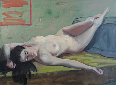 Painting - Reclining Nude, Legs Upraised by Robert Holden