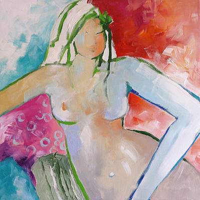 Female Figure Painting - Reclining Nude by Linda Monfort