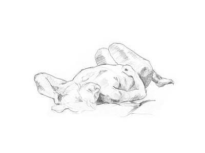 Drawing - Reclining Nude  by Masha Batkova