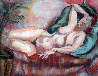 Painting - Reclining Nude by Synnove Pettersen