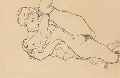 Nipple Drawing - Reclining Nude With Left Leg Drawn In by Egon Schiele