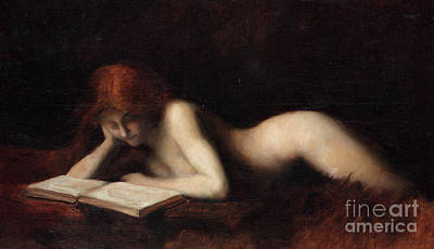 Erotica Painting - Reclining Nude Woman Reading A Book  by Jean-Jacques Henner