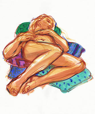 Painting - Reclining On Cushions by Judith Kunzle