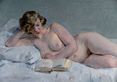 Isaac Painting - Reclining Reading Nude by Isaac Israels