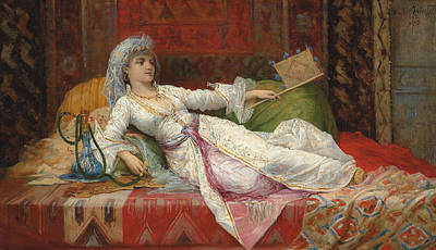 Concubine. Harem Girl Painting - Reclining Turkish Woman by Emile Henri La Porte