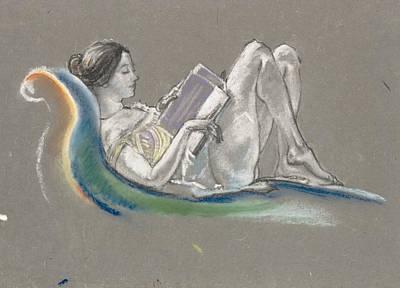 Pastel - Reclining Woman by Arthur Bowen Davies