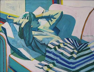 Bay Area Figurative Painting - Reclining Woman by Roland Petersen
