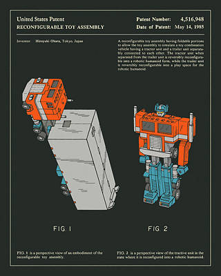 Art For Kids Digital Art - Reconfigurable Toy Patent 1985 by Jazzberry Blue