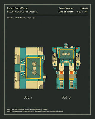 Art For Kids Digital Art - Reconfigurable Toy Patent 1986 by Jazzberry Blue