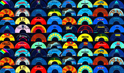 Digital Art - Record Labels Of The Past by David Lee Thompson