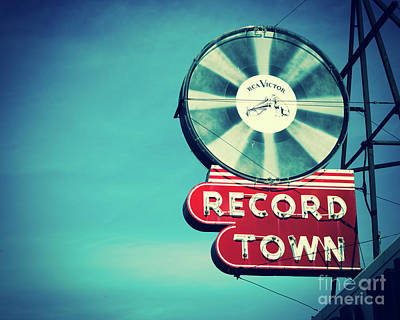 Record Town Blues Art Print