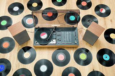Records Lying On Floor Surrounding 1970?s Stereo System Art Print by Jorg Greuel