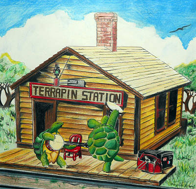 Reptiles Drawing - Recreation Of Terrapin Station Album Cover By The Grateful Dead by Ben Jackson