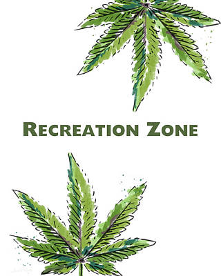 Signed Mixed Media - Recreation Zone Sign- Art By Linda Woods by Linda Woods