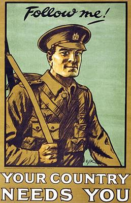 Recruitment Poster Follow Me Your Country Needs You Art Print