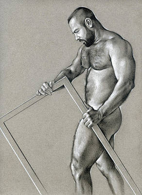 Male Nudes Drawing - Rectangle 2 by Chris Lopez