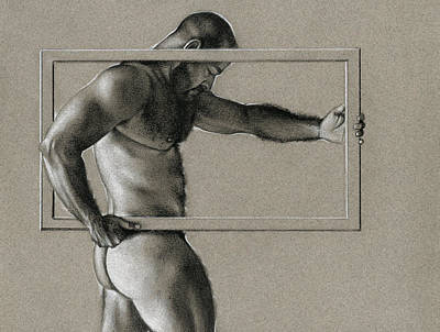 Male Nude Drawing Drawing - Rectangle by Chris Lopez