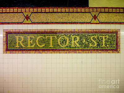 Nyc Subway Mosaic Photograph - Rector St Sign, Subway Station, New York City, Usa. by Bailey-Cooper Photography