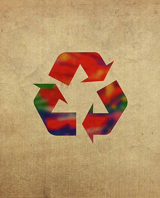 Environment Mixed Media - Recycle Symbol In Watercolor by Design Turnpike