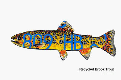 Mixed Media - Recycled Brook Trout by Bill Thomson
