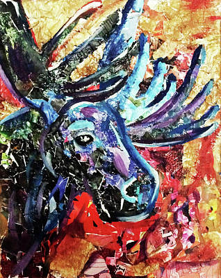 Reuse Painting - Recycled Moose by Lori Teich