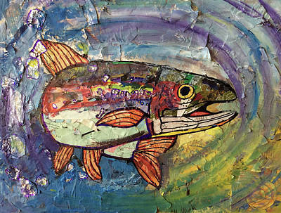 Multimedia Painting - Recycled Salmon by Lori Teich
