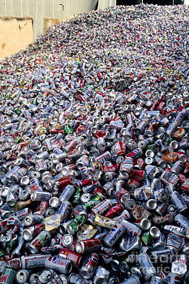 Soda Can Photograph - Recycling Aluminum Cans by Inga Spence