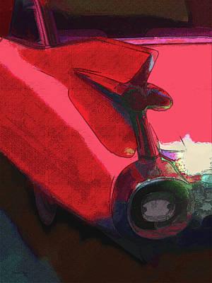 Digital Art - Red 1959 Cadillac Tailfin by David King