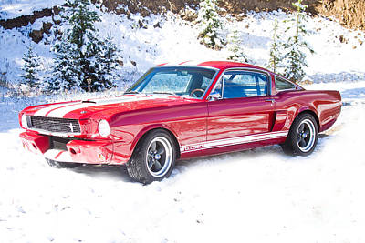 Red 1966 Ford Mustang Shelby Print by James BO  Insogna