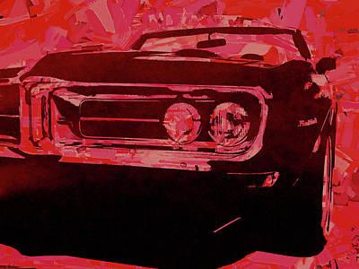 Digital Art - Red 1968 Firebird Pop by David King