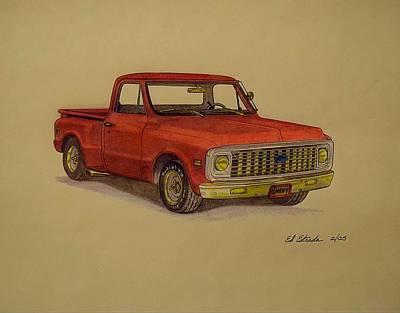 Red 1970 Chevy Pickup Art Print by Ed Estrada