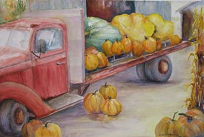 Cornstalks Painting - Red 42 Truck With Pumpkins by Sukey Watson