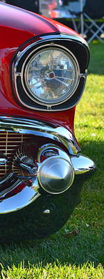 Photograph - Red 57 Chevy Headlight by Dean Ferreira