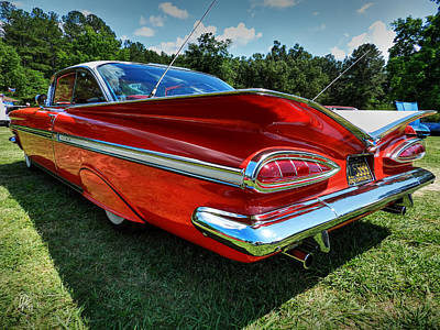 Chrome Bumper Photograph - Red '59 Impala 001 by Lance Vaughn