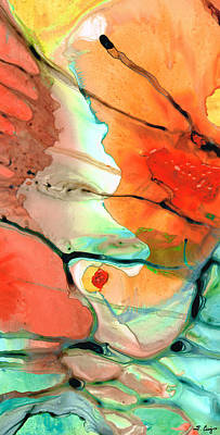 Drippy Painting - Red Abstract Art - Decadence - Sharon Cummings by Sharon Cummings
