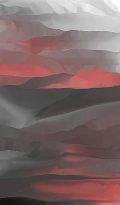 Digital Art - Red Abstract Landscape by David Lane