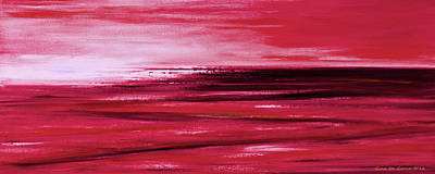 Painting - Red Abstract Panoramic Sunset by Gina De Gorna