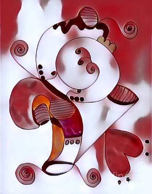 Digital Art - Red Abstract by Patty Meotti