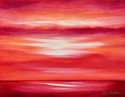 Painting - Red Abstract Sunset by Gina De Gorna