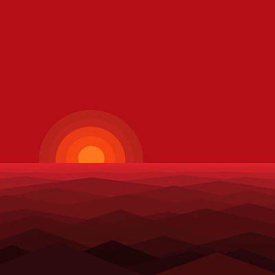 Abstract Seascape Digital Art - Red Abstract Sunset II by Val Arie