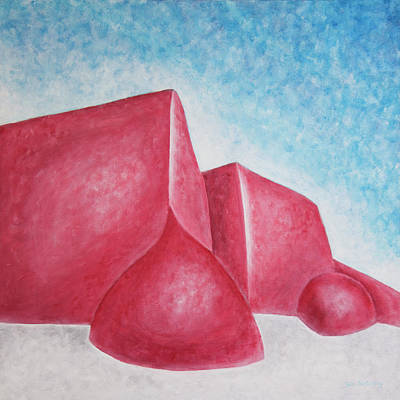 Painting - Red Adobes Under Winter Desert Sky by Ben Gertsberg
