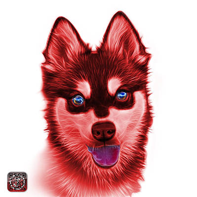 Painting - Red Alaskan Klee Kai - 6029 -wb by James Ahn