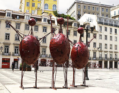 Photograph - Red Aliens In Town Hall Square Square by Lorraine Devon Wilke