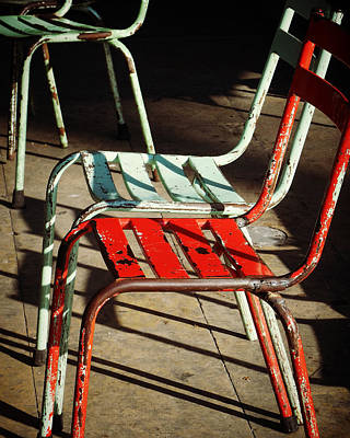 Photograph - Red And Aqua Chairs by Valerie Reeves