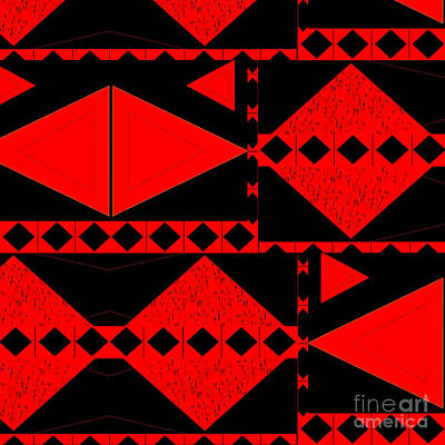 Digital Art - Red And Black - An Arrangement With Tension by Helena Tiainen