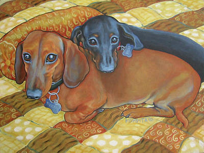 Painting - Red And Black Dachshunds - Best Buds by Rebecca Korpita