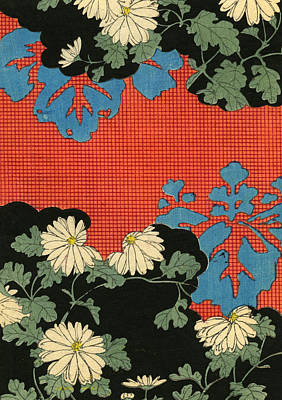 Daisies Drawing - Red And Black Design With Daisies by Japanese School