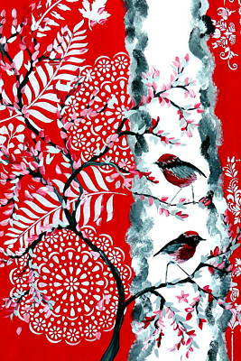 Christmas Trees - Red and Black Design with Robins by Cathy Jacobs