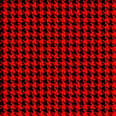 Digital Art - Red And Black Houndstooth Check by Jane McIlroy