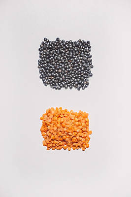 Shape Photograph - Red And Black Lentils by Scott Norris